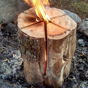 How to build an efficient fire using a single log – the Swedish Fire Torch